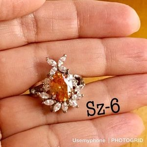 New white GF silver floral ring jewelry Size 6